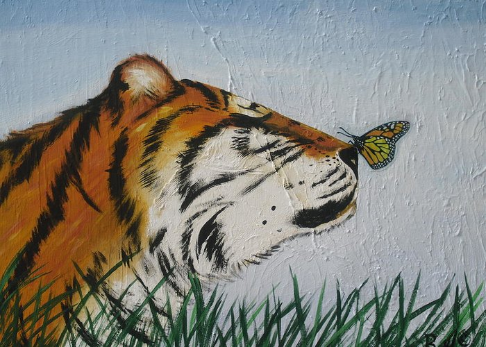 Tiger Greeting Card featuring the painting '' Tiger Colors'' by Mccormick Arts