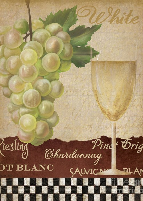 Wine Greeting Card featuring the painting White Wine Collage by Grace Pullen