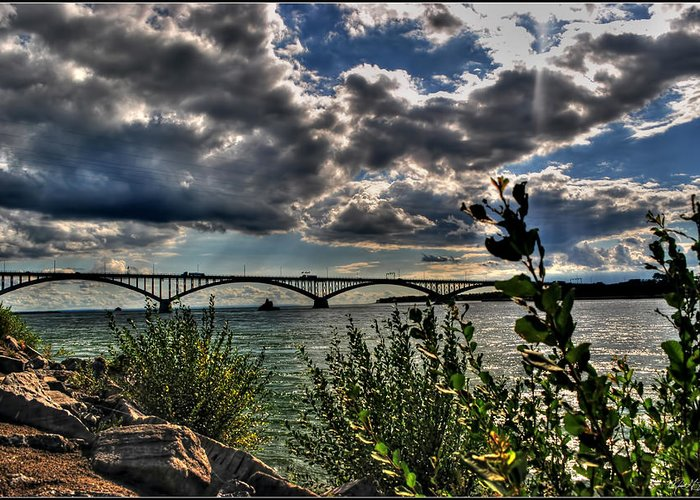 Greeting Card featuring the photograph 004 Peace Bridge Series II Beautiful Skies by Michael Frank Jr