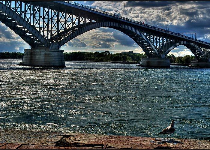 Greeting Card featuring the photograph 005 Peace Bridge Series II Beautiful Skies by Michael Frank Jr