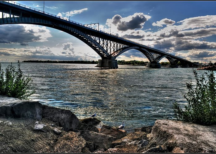 Greeting Card featuring the photograph 009 Peace Bridge Series II Beautiful Skies by Michael Frank Jr