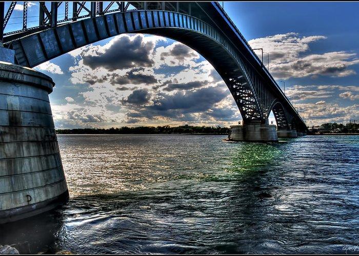 Greeting Card featuring the photograph 013 Peace Bridge Series II Beautiful Skies by Michael Frank Jr