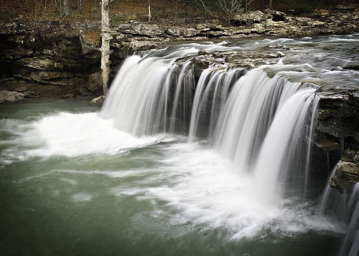 Arkansas Greeting Card featuring the photograph 0805-005b Falling Water Falls 2 by Randy Forrester