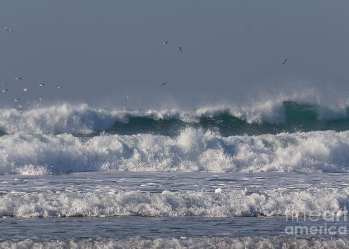Cornish Seascape Greeting Card featuring the photograph Porthtowan Cornwall by Brian Roscorla