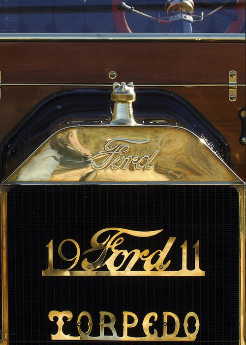 1911 Ford Model T Torpedo Greeting Card featuring the photograph 1911 Ford Model T Torpedo Hood Ornament by Jill Reger