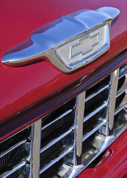 1955 Chevrolet Pickup Truck Greeting Card featuring the photograph 1955 Chevrolet Pickup Truck Grille Emblem by Jill Reger