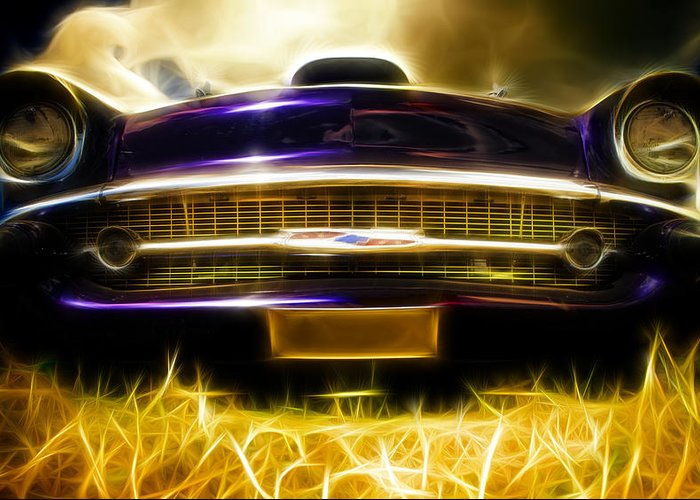 Chevrolet Greeting Card featuring the photograph 1957 Chevrolet Bel Air by Phil 'motography' Clark