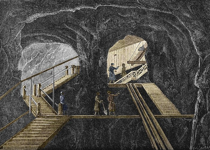 Staircase Greeting Card featuring the photograph 19th-century Mining by Sheila Terry