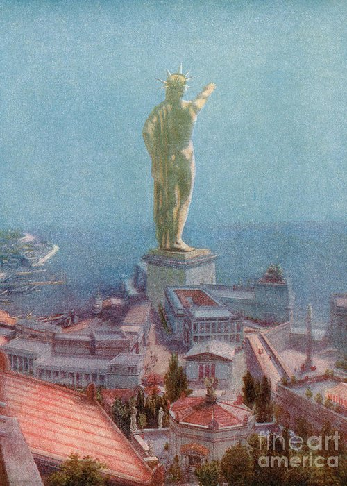 History Greeting Card featuring the photograph 7 Wonders Of The World, Colossus by Photo Researchers