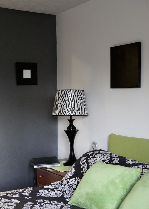 No People Greeting Card featuring the photograph A Bedroom In A House. A Double Bed by Christian Scully