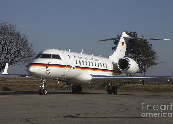 Germany Greeting Card featuring the photograph A Bombardier Global 5000 Vip Jet by Timm Ziegenthaler