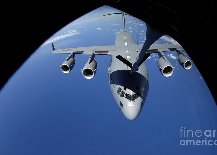 Aerial Greeting Card featuring the photograph A C-17 Globemaster IIi Receives Fuel by Stocktrek Images