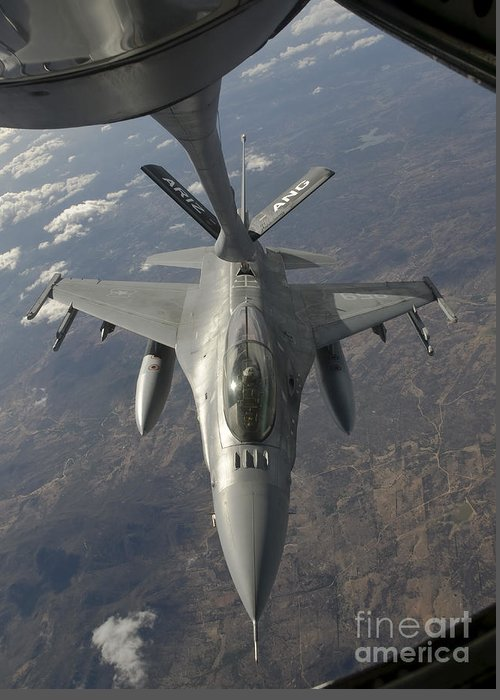Transportation Greeting Card featuring the photograph A Chilean Air Force F-16 Refuels by Giovanni Colla