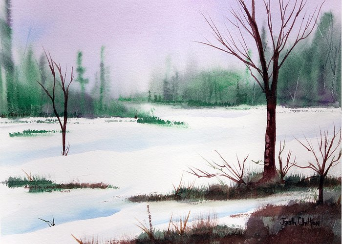 Snow Scene Greeting Card featuring the painting A Cold One. by Josh Chilton
