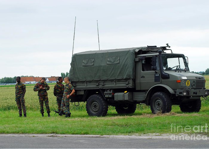 Belgium Greeting Card featuring the photograph A Unimog Vehicle Of The Belgian Army by Luc De Jaeger