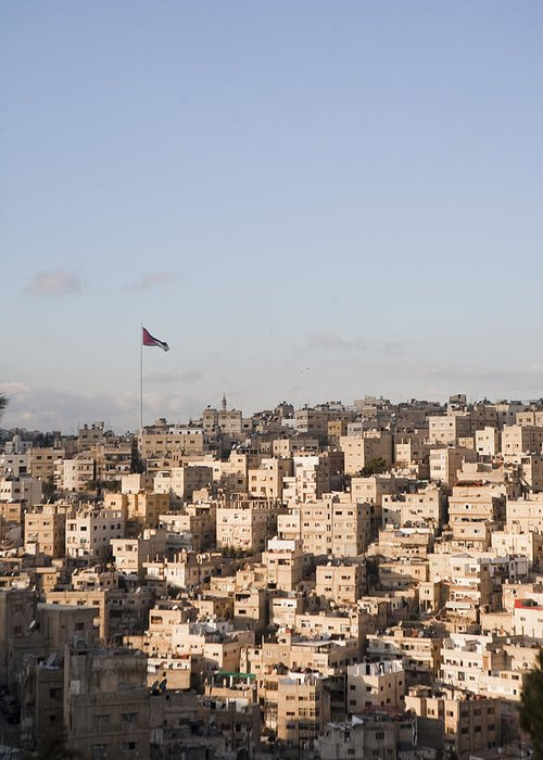 No People Greeting Card featuring the photograph A View Of Amman, Jordan by Taylor S. Kennedy