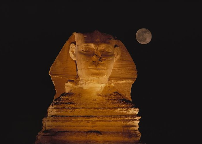 Africa Greeting Card featuring the photograph A View Of The Great Sphinx At Night by Bill Ellzey