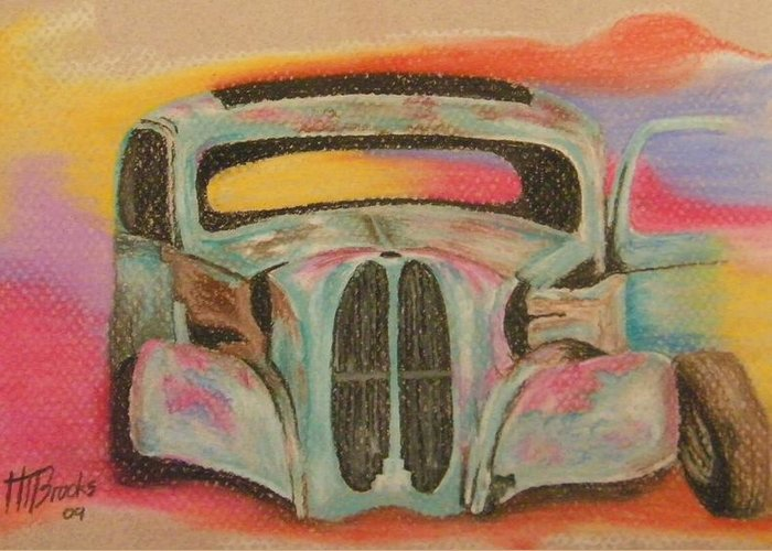 Car Greeting Card featuring the drawing Abandoned Beauty by Tersia Brooks