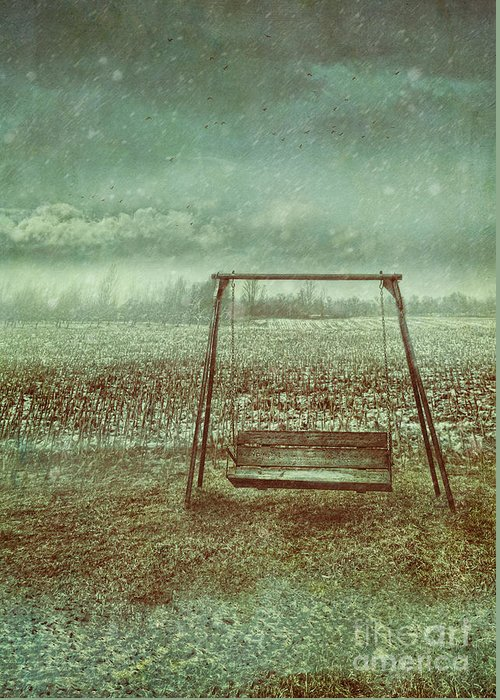 Atmospheric Greeting Card featuring the photograph Abandoned Swing In First Snow Storm Of Winter by Sandra Cunningham