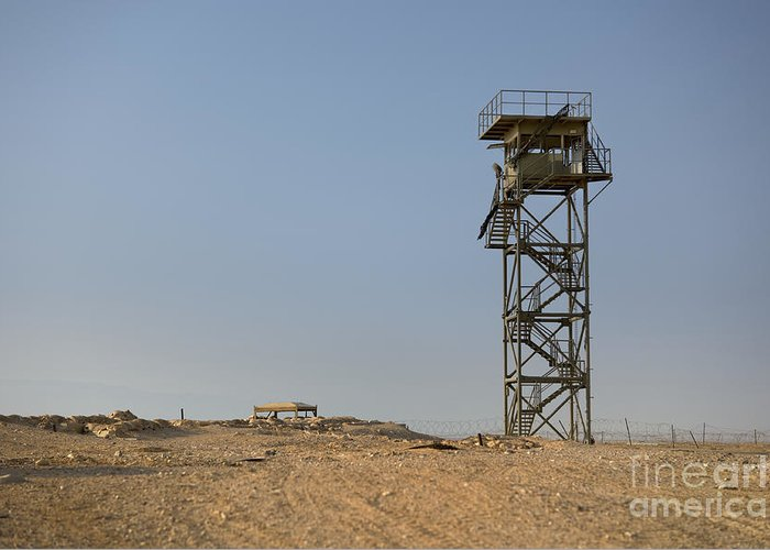 Abandoned Greeting Card featuring the photograph Abandoned Watchtower In The Desert by Noam Armonn