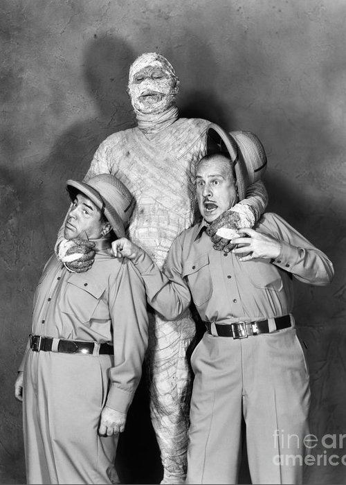 1955 Greeting Card featuring the photograph Abbott And Costello by Granger