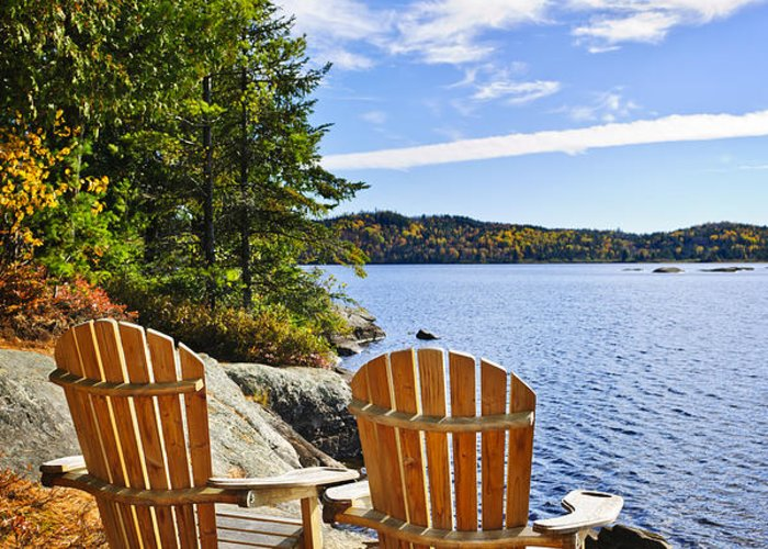Chairs Greeting Card featuring the photograph Adirondack Chairs At Lake Shore by Elena Elisseeva