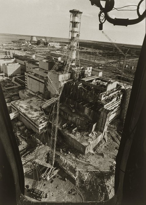 Chernobyl Disaster Greeting Card featuring the photograph Aerial View Of Chernobyl Soon After The Accident. by Ria Novosti