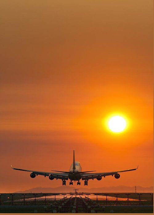 Boeing 747 Greeting Card featuring the photograph Aeroplane Landing At Sunset by David Nunuk