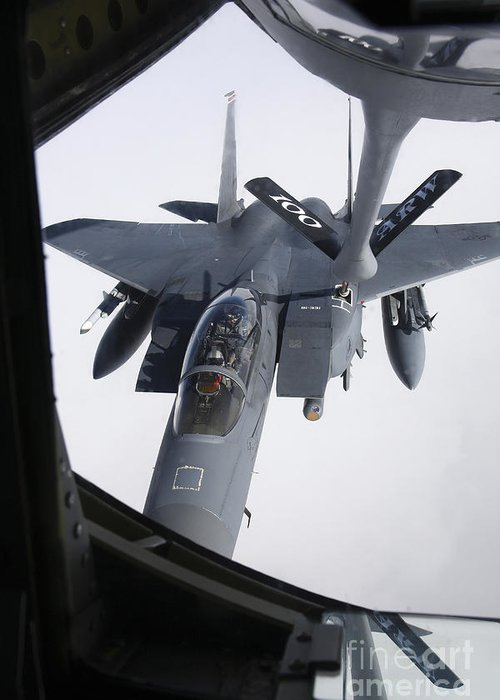 Transportation Greeting Card featuring the photograph Air Refueling A F-15e Strike Eagle by Daniel Karlsson