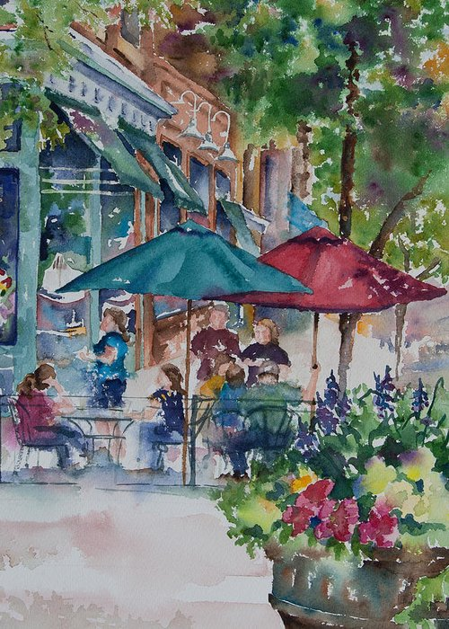 Amy Caltry Greeting Card featuring the painting Al Fresco by Amy Caltry