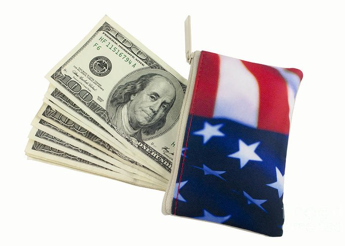 American Flag Greeting Card featuring the photograph American Flag Wallet With 100 Dollar Bills by Blink Images