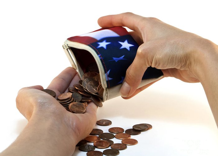 American Greeting Card featuring the photograph American Flag Wallet With Coins And Hands by Blink Images