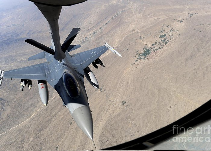 Afghanistan Greeting Card featuring the photograph An F-16 Fighting Falcon Receives Fuel by Stocktrek Images