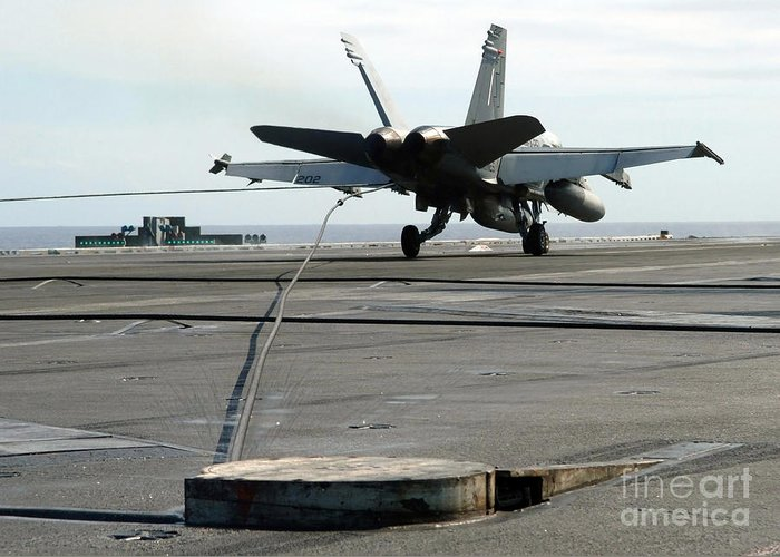 Horizontal Greeting Card featuring the photograph An Fa-18c Hornet Makes An Arrested by Stocktrek Images