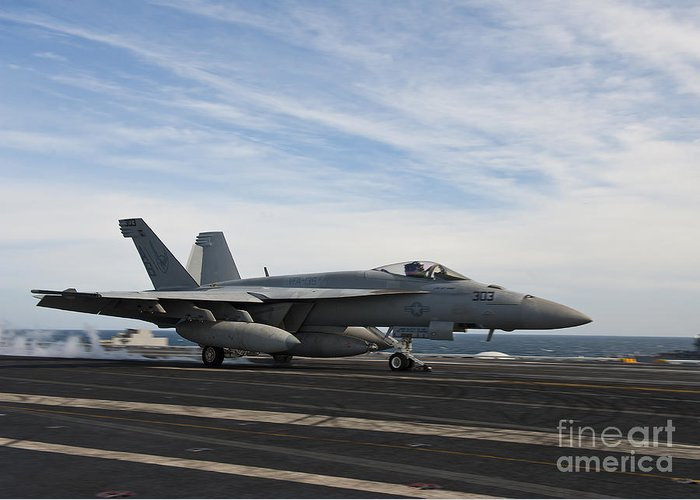 Side View Greeting Card featuring the photograph An Fa-18f Super Hornet Takes by Stocktrek Images