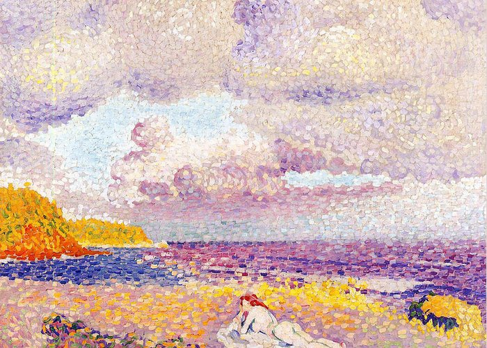 An Incoming Storm Greeting Card featuring the painting An Incoming Storm by Henri-Edmond Cross