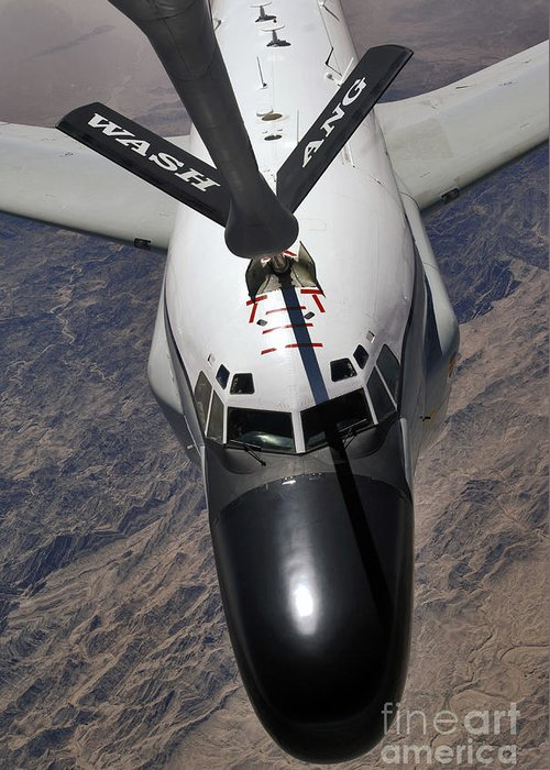 Aircraft Greeting Card featuring the photograph An Rc-135 Rivet Joint Reconnaissance by Stocktrek Images