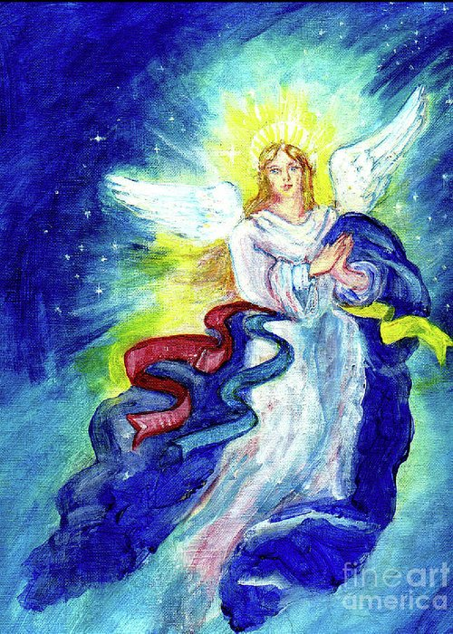 Angel Greeting Card featuring the painting Angel Of Joy by Doris Blessington