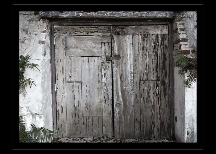 Doors Greeting Card featuring the photograph Antique Weathered Wooden Doors by John Stephens