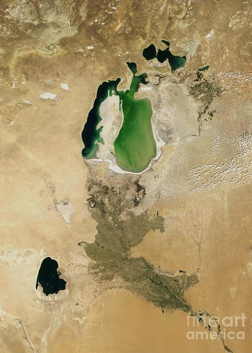 Aral Sea Greeting Card featuring the photograph Aral Sea by NASA / Science Source
