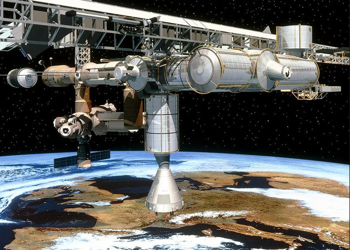 Space Station Greeting Card featuring the photograph Artwork Of The International Space Station by David Ducros