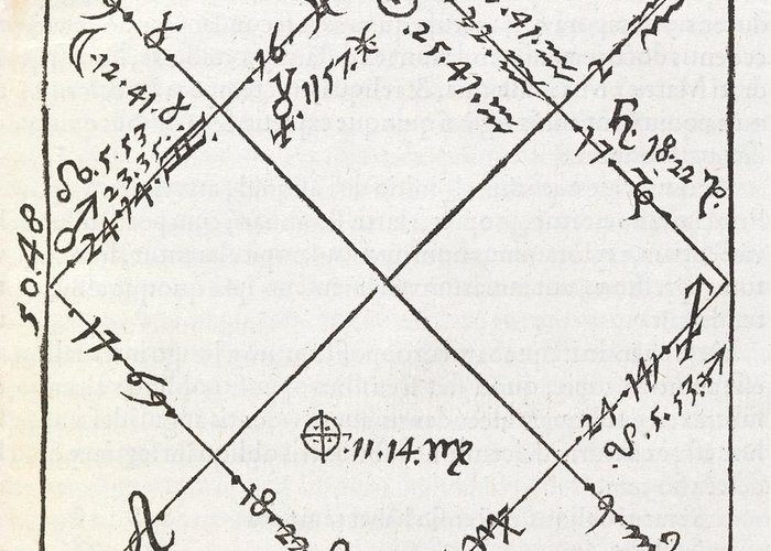 Rene Of Chalon Greeting Card featuring the photograph Astrology Chart, 16th Century by Middle Temple Library
