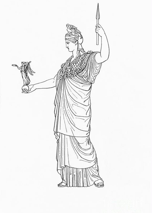 History Greeting Card featuring the photograph Athena, Greek Goddess by Photo Researchers