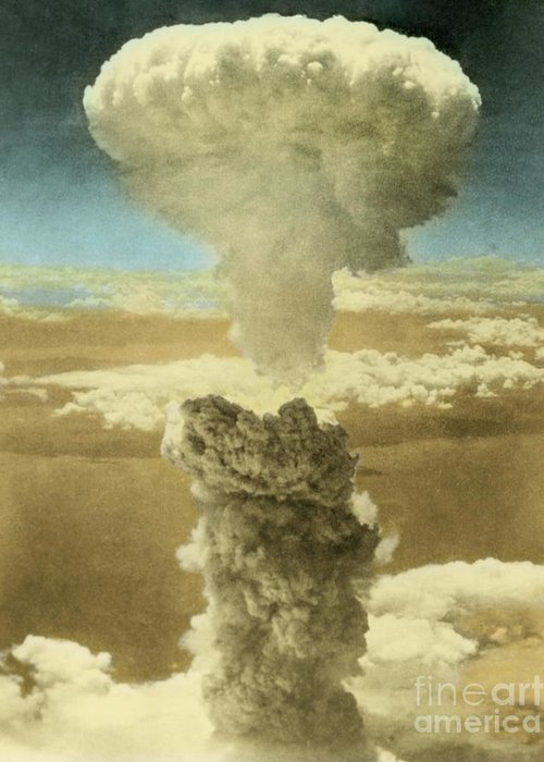 Enhanced Greeting Card featuring the photograph Atomic Bombing Of Nagasaki by Omikron