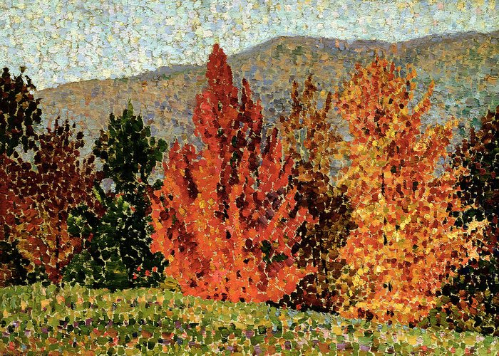 Autumn Landscape Greeting Card featuring the painting Autumn Landscape by Henri-Edmond Cross