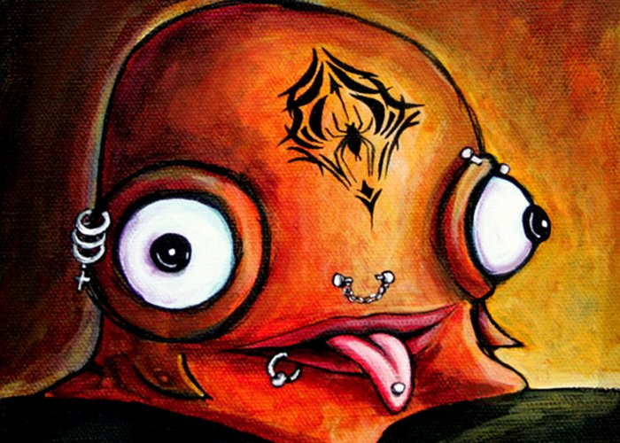 Little Monster Greeting Card featuring the painting Bad Boy Glob by Leanne Wilkes