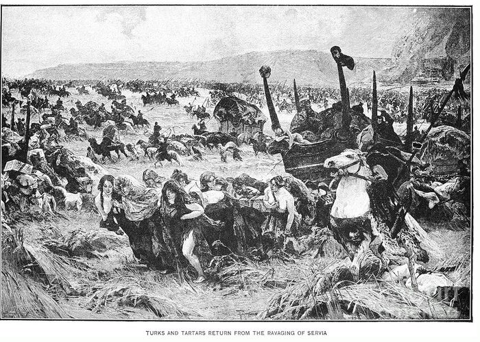 1876 Greeting Card featuring the photograph Balkan Insurgency, 1876 by Granger