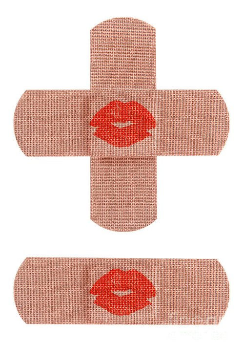 Bandaid Greeting Card featuring the photograph Bandages With Kiss by Blink Images