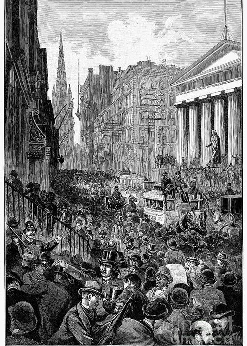 1884 Greeting Card featuring the photograph Bank Panic, 1884 by Granger