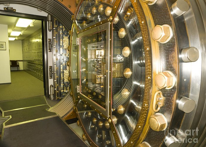 Architectural Greeting Card featuring the photograph Bank Vault Interior by Adam Crowley